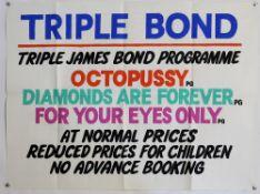 James Bond - 'Triple Bond' Original cinema display British Quad film poster for Octopussy, For