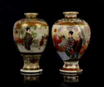Two small Satsuma vases, each one about 9 cm high; Meiji Period; together with an iridescent shell