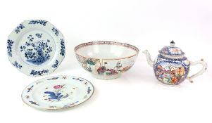 A Chinese Export, famille rose punch bowl, 25.5 cm diameter, Qianlong; together with a Chinese