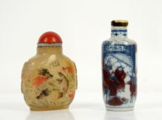 A Chinese Snuff bottle, decorated in underglaze blue and yu li hung, 7.5 cm high; together with