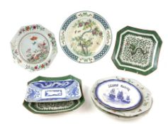 Three Chinese Export Porcelain, famille rose plates, Qianlong; a pair of Chinese Dragon dishes; a