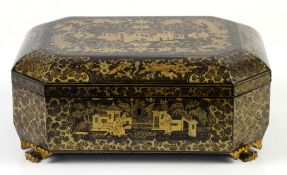 A Cantonese games or sewing box of typical octagonal form; 32 cm wide, Qing DynastyProvenance: The