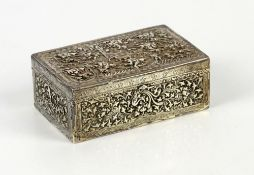 A Chinese white metal box and hinged cover of rectangular form, decorated on the cover with horsemen
