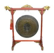 A large Chinese Gong on fitted stand; diameter of the gong about 70 cm; inscribed 'Chang men Zhong