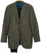 Gentleman's vintage fashion - Daks tweed wool jacket in green 104cm underarm, a wool brown tweed