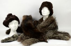 Vintage fur accessories including Ermine tippet, long blue Fox stole and cuffs, and early 20th