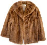 Vintage light brown mink short jacket approx size 14, brown long faux fur coat and a medium black