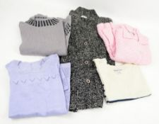 Collection of Marion A Foale knitwear in cotton and wool in black and white, cream and navy pink