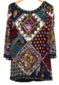 Gianni Versace silk and cotton multi coloured harem pants with size label 40/6, a 1950s Worth silk