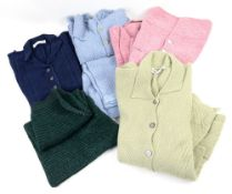 Collection of 5 Marion Foale knitwear in mixed fabrics - cotton chenille in colours powder blue,