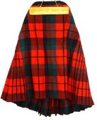 An Adult and 2 children's Kilts in red, blue and green check and childs leather Sporan 1930s Morning
