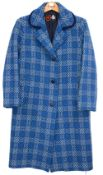 A Welsh wool Eclipse tailored blue tapestry woven ladies over coat Good clean condition