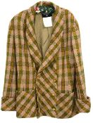 Chanel Boutique wool and cashmere loosely woven tweed jacket in greens, yellow and magenta with