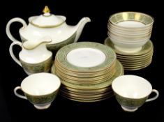 Royal Doulton English Renaissance dinner service with gilt pattern on pale green banded rim, white