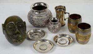 White metal bowl marked 800, smaller bowl marked 900, three white metal dishes inset with coins
