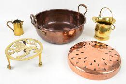 Copper jam pot, brass pot stand, brass jug and pot