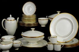 Wedgwood California dinner service in white with gold band, to include coffee pot, cream, sucrier,