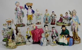 Large collection of various porcelain figurines, to include Royal Doulton ribbon seller, and '