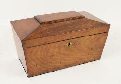 19th century mahogany tea caddy of sarcophagus form 31W x 19D x 15H