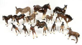 16 Beswick horses, foals and donkeys