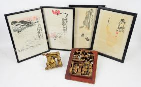 Two Chinese carved wood and gilded furniture panels and 4 prints
