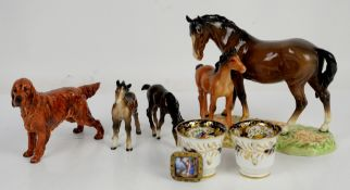 Beswick horses, Royal Doulton English Red Setter 1055, painted enamel brooch, and various