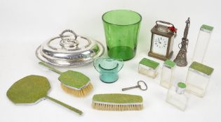 Art deco dressing table set, posy holder, carriage timepiece and entrée dish, and two pieces of