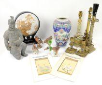 Goebel birds, oriental style vase, corinthium column lamp bases, decorative items of brassware and