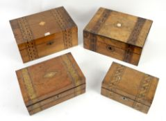 Victorian walnut sewing box parquetry inlaid and three other boxes