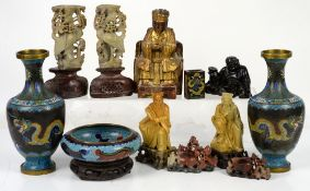 Quantity of Asian items, to include cloisonné vases, giltwood deity, prunus vases, glass vase