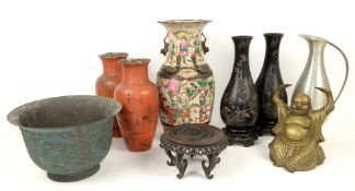 Quantity of miscellaneous items to include Chinese Famille Rose vase, paper mâché vases, hardwood