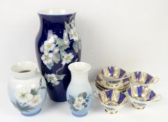Three Royal Copenhagen vases, Paragon cups and saucers, Dresden style ovoid pot on three legs, and