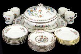 Wedgwood Kutani Crane part dinner service, including 8 cake plates, 8 larger plates, 2 tureens and