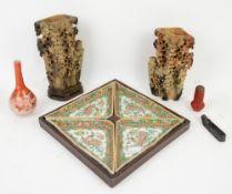 Pair of Chinese soapstone vases, Japanese Kutani bottle vase, Chinese hard stone shoe, cinnabar