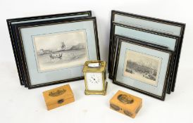 Brass carriage timepiece, two mauchline boxes with depictions of Dunkeld Cathedral and The Pavilion,