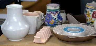 Large quantity of Poole Pottery, including mottled grey and green dinner wares, grey and blue part
