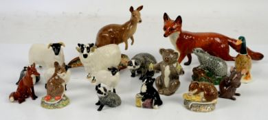 Beswick Kangaroo model 1160, Beswick Fox, Koala, rams and other creatures (17 in lot)