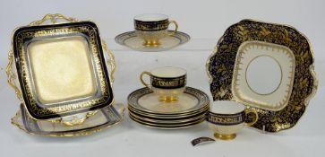 Paragon blue and gilt fine bone china tea service to include side plates, jug, sugar bowl, dishes,
