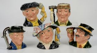 Royal Doulton character jugs including The Auctioneer, The Antique Dealer and The Collector, and The