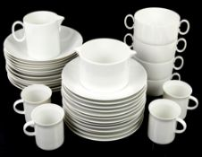 Rosenthal or Thomas white dinner wares to include 12 cups, 12 soup bowls, bowls, and side plates,