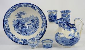 Mintons Genevese wash bowl and jug, and other items of blue and white Washbowl has some crazing to