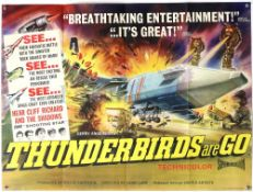 Thunderbirds Are Go (1966) British Quad film poster, created by Gerry Anderson, United Artists,