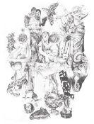 Aimee Jewitt-Harris (British). '10 of Clubs / Weird Women'. Pencil on paper. Signed, sheet size 59 x