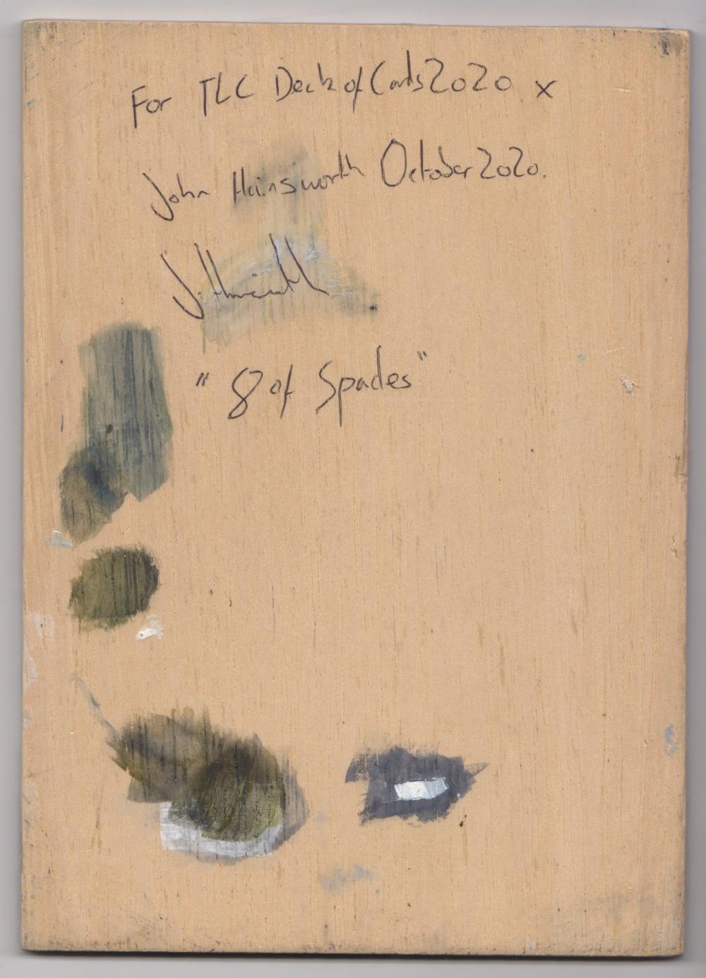 John Hainsworth (British). '8 of Spades', oil on board, signed and dated front and back. 21 x - Image 2 of 2