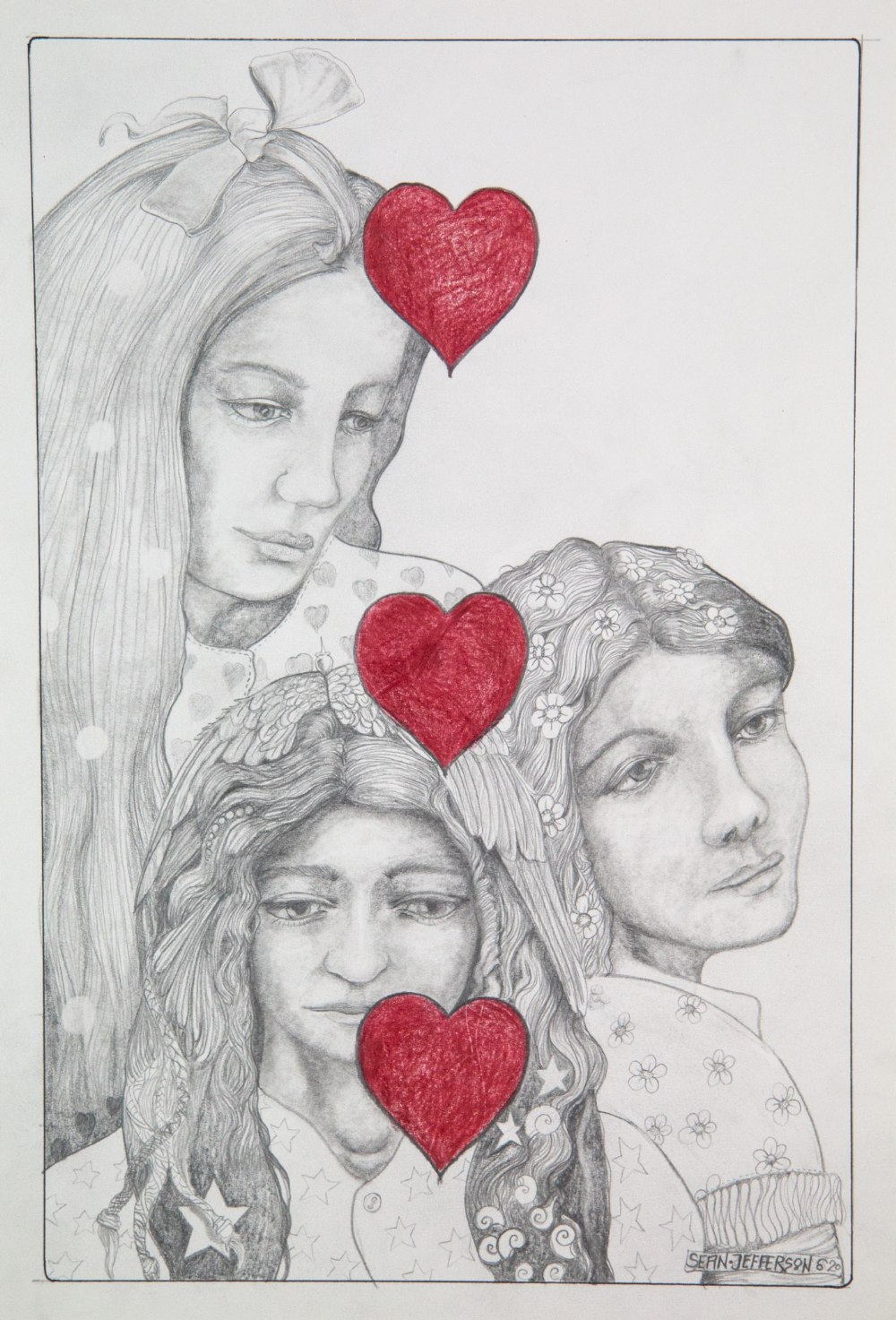 Sean Jefferson (British, b.1957). '3 of Hearts'. Graphite and coloured crayon on paper. Image