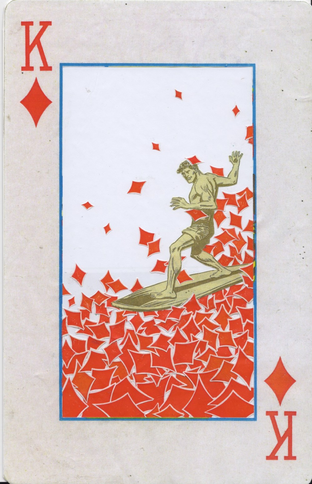 David Mach RA (British, b.1956). 'King of Diamonds'. Collage on board, signed and titled verso. 29.7
