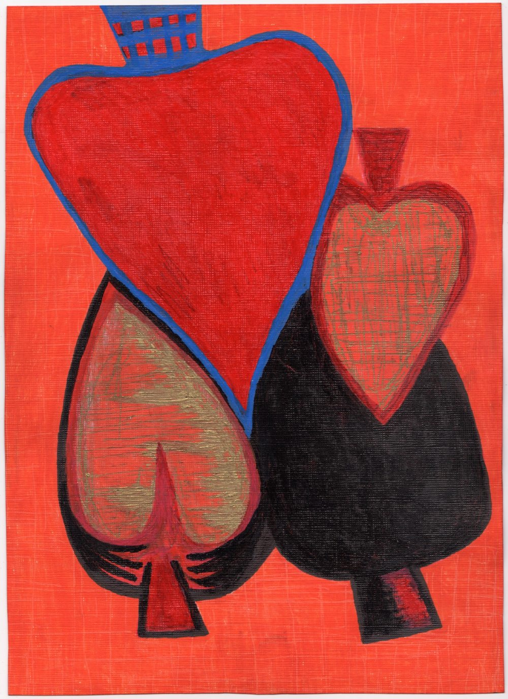 Steven Ling (British, b.1966). '4 of Spades'. Acrylic and felt tip pen on paper, signed, titled