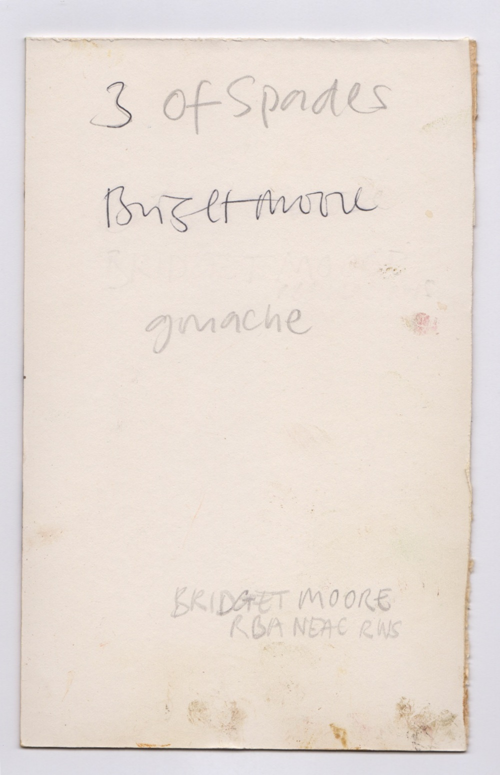 Bridget Moore NEAC RBA RWS (British, b.1960). '3 of Spades'. Gouache on card, signed and titled - Image 2 of 2