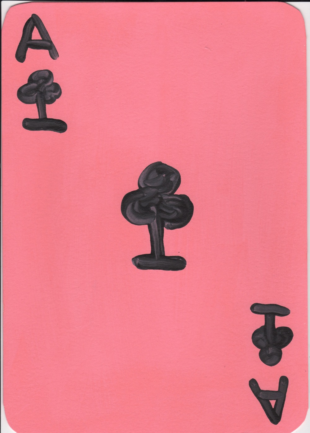 David Shrigley OBE (British, b.1968). 'Ace of Clubs'. Paint on card, signed 'D.Shrig' and dated