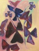 Peggy Cozzi (British). '9 of Clubs / Oxalis'. Water mixable oil paint on sized Bockingford 300gsm